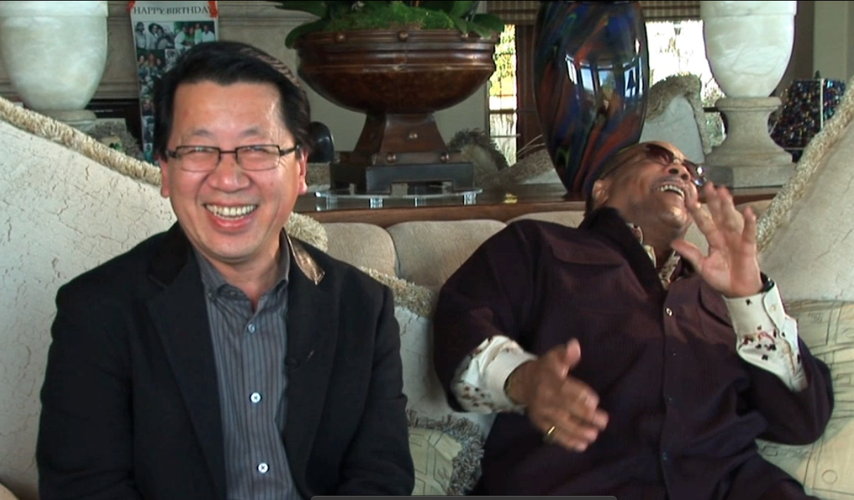 Ben Fong-Torres shares a laugh with music producer Quincy Jones  Photo by Suzanne Joe Kai