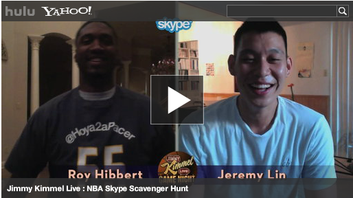 Jeremy Lin plays in-home scavenger hunt with Jimmy Kimmel via Skype