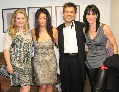 Kathryn Layng, producer Lily Fan, playwright David Henry Hwang, and director Leigh Silverman backstage at the Longacre Theatre before the opening night of Chinglish Oct 27, 2011. Photo by Lia Chang